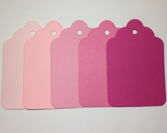 50 Super Scalloped  tags.  3.25 x 4.75 inches, Jumbo size tag, Pink  Wish tree tag, Craft tag, Gift tag.