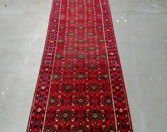 1980s Hand-Knotted Hamadan Persian Rug Runner (3336)