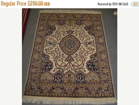 CLEARANCE 1980s Vintage, Hand-Knotted, Indo-Tabriz Rug (1607)