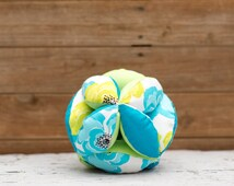 Amish Fabric Puzzle Ball Turquoise Lime Tropical Baby Child Pet Toy