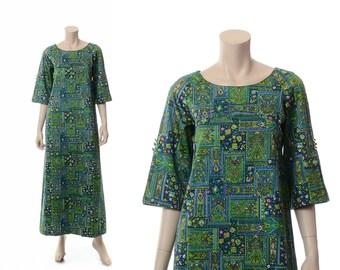 Vintage 60s 70s Malihini Mod Hawaiian Dress 1960s 1970s Designers Collection Hawaii Polynesian Luau Hippie Boho Tiki Caftan