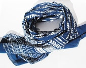 Organic cotton long scarf/shawl/stole block printed and dyed in natural indigo