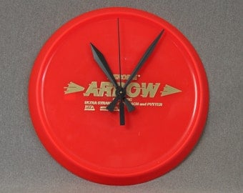 Aerobie Arrow Golf Disc, Red, Wall Clock, Geekery, Clocks by DanO