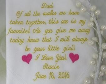 Embroidered Wedding Handkerchief - Bridal Wedding Hankie Father Of The Bride Wedding Hankerchief - Embroidered Wedding Hanky Gift For Father