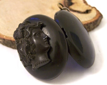 Antique Victorian Vulcanite Locket, Cameo Locket, Mourning Locket, Black Locket