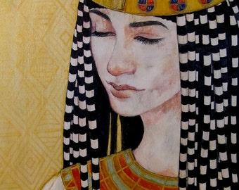 Nile Princess 5x7 Print Egyptian Portrait Art Mixed Media Drawing Cleopatra Ancient Egypt