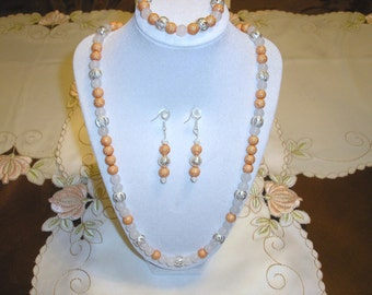 3 Piece Set Soft Peach Textured Beads mingled in with White and Silver Textured Beads.