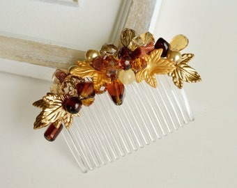 Fall hair comb, Bridal hairpiece, Autumn hair comb, Fall wedding hair accessories, Burnt orange hair, Crystal headpiece, Maple leaf