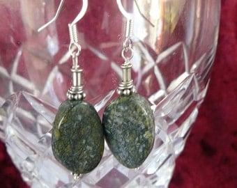 Jasper- Green - Sterling Silver - Earrings