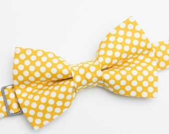 Bow Tie - Yellow with White Polka Dots Bowtie