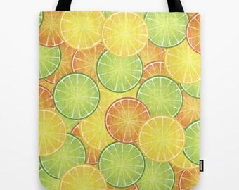 Orange Lemon Lime Citrus Fruit Slice Designed Tote Bag  // Book  // Beach // Shopping //  Toy // Sports // 2-Sided 13X13 16X16 18X18  Cotton