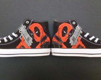 Deadpool Custom Converse Handpainted Shoes All Star Marvel Superheroes Comics