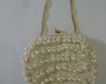 60's Beaded Evening Bag/Clutch Boho Bride's Handbag with Pearls and Sequins Kiss Lock Made in Hong Kong or LeRegale Ltd