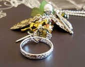 Lord of the Rings Inspired Car Mirror Charm with Sterling Silver Ring