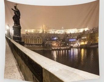 Charles Bridge tapestry Night city tapestry Night lights tapestry Christmas tapestry Snow tapestry Violet Tapestry Prague Photo Tapestry