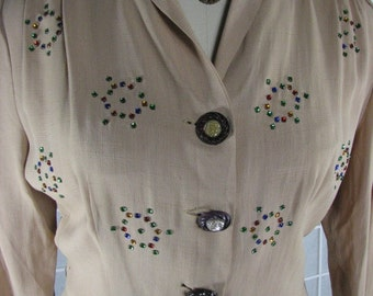 1940/50s Tan Two Piece Rayon Dress with Colored  Rhinestone Detail..........size Large to X-Large