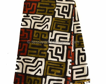African Fabric From Mali/ Kuba cloth print/ African fabric Shop/ Tribal print ,wax print fabric/ African supplies/ Wholesale/ 6 Yards  TP70