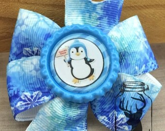 Blue and White Snowflake Winter Penguin Hair Bow