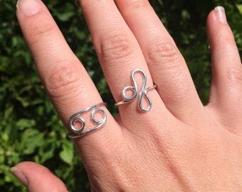 Custom Astrology Sign Ring, Silver-Fill