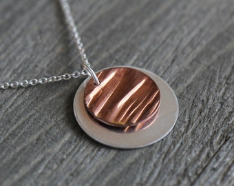 Mixed metal necklace, silver and copper circle necklace