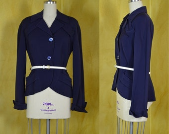 Late 1940s Navy Blue Wool Gabardine Hourglass Suit Jacket with Smart Details