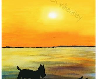 Scottie Dog at Sunset  Art  Print Scottish Terrier Dog #24