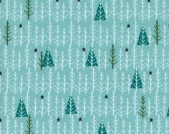 Tree Day in Mint by Alexia Marcelle Abegg for Cotton + Steel Garland Collection Christmas Fabric Mint Christmas Tree Blue Christmas