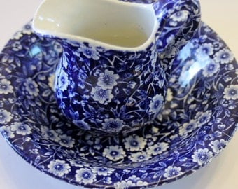 Blue Calico Pitcher and Bowl Transferware Set Made in England