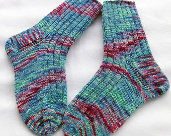 Hand Knit Socks  for Women UK 5-7, US 7-9  Piratenwolle handdyed