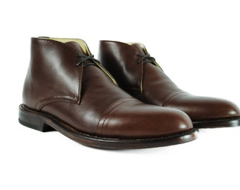 BAUDELAIRE Brown Chukka Cap GOODYEAR Welted BOOTS Toe Boots.