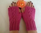 Wool Alpaca Fingerless Gloves - Women Cabled Texting Wrist Warmers - Pink Braided Knitted Handwarmers - Fingerless Mittens - Clickclackknits