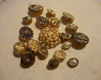 Vintage Buttons. 22 Assorted guilt 1960s Buttons.