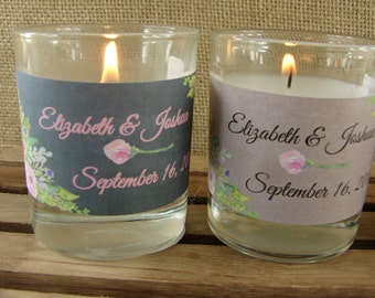 Personalized Votive Candles - Wedding Candles - Watercolor Floral Design in Pink or Purple - Choice of Background - ANY OCCASION - ppwk2