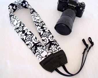 Damask Black and White Camera Shoulder Neck Strap Padded Adjustable