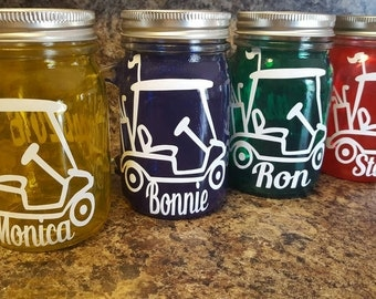 16 oz  Personalized Golf Cart MASON JAR Sippy Tumbler - Glass with Handle - Choose your Color -  Golf Gift - Mason Jar Gift