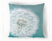 Dandelion Puff Decorative Throw Pillow, Teal and White, Dandelion Flower, Home Decor, 14x14 16x16 18x18 or 20x20