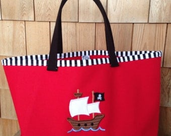 Kids Personalized Red Canvas Tote with Pirate Ship