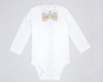 Baptism or Christening Outfit - Cardigan Onesie and Bow Tie Set - White with Khaki Linen