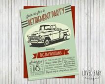 Vintage Truck Invitation - Retirement Party Invitation, Birthday Party Invitation, Baby Shower, Customizable - DIY, Printable, Digital File