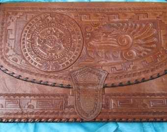 leather Cowboy Tooled leather Western pouch,. great country wedding item NEW PRICE REDUCTION
