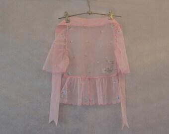Pink Gauze, Flocked Hostess Apron