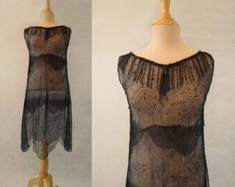 Vintage Silk Lace 1920s Style Dress
