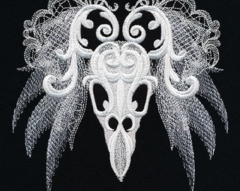 Ghost Baroque - Bird Skull - Embroidered on Black Made-to-Order Pillow Cover