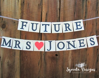 Future Mrs NAME banner - wedding shower sign - wedding shower banner - coral heart - navy letters - bride to be - IATY123