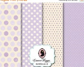 75% OFF SALE DIGITAL Paper Digital Collage Sheet - set of 4 -  8.5 X 11 inches - Big Digital Paper - Shabby Polka dots - Lilac Cream images