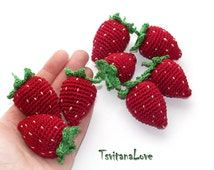 Strawberry (1 pc+) - Crochet berries - Eco Friendly - small Scullion - game in the kitchen - Decoration - Ready to ship