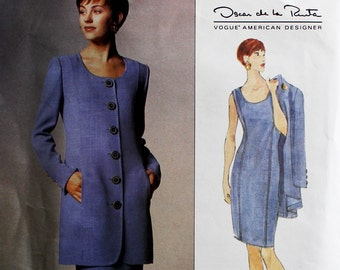 Dress & Jacket by Oscar de la Renta - 1990's -  Vogue 1404  Uncut   Size 14-16-18  Bust  36-38-40""