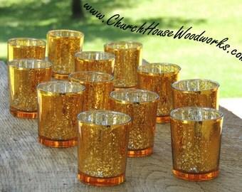 96 Gold Mercury Glass Votive Holders - Candle Holders for Weddings - Glass Votive Candle Holders - Wedding Decorations