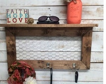 Rustic Home Decor, entry way shelves, entryway shelf, coat rack, coat rack with shelf, wire shelves, wire shelf, shelf with hooks