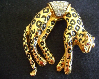 Vintage Leopard Brooch 80's Black Enamel Spots Rhinestones